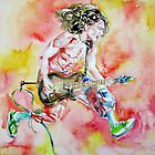 EDDIE VAN HALEN PLAYING and JUMPING watercolor portrait by lautir