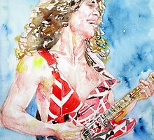 EDDIE VAN HALEN PLAYING the GUITAR watercolor portrait.2 by lautir