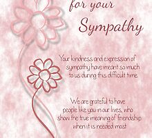 Thank You for your Sympathy Pink Sketched Flowers with Sentiment Words by Catherine Roberts