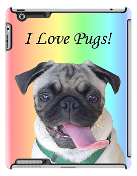 Cute I Love Pugs iPhone, iPod or iPad Case by Patricia Barmatz