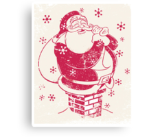 Father Christmas stuck in chimney Canvas Print