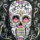 Flower and Cross Sugar Skull by KimiStMarie