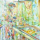 JIMI HENDRIX in the KITCHEN watercolor PORTRAIT by lautir