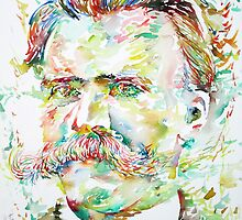 NIETZSCHE watercolor portrait by lautir
