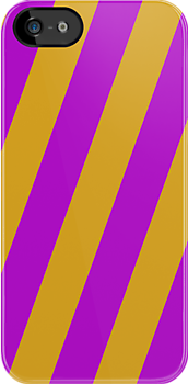 Iphone Case -  Purple & Goldenrod - Broad Diagonal Stripes by chompo