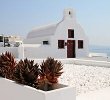 Crisp White Church, Oia, Santorini, Greece by Carole-Anne