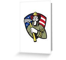 American Fireman Firefighter Emergency Worker  Greeting Card