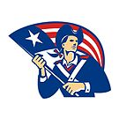 American Patriot Minuteman With Flag Retro  by retrovectors