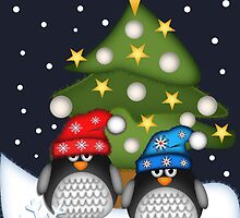 Christmas with Cute Penguins card by walstraasart