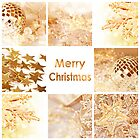 Merry Christmas card gold decoration collage by Delphimages