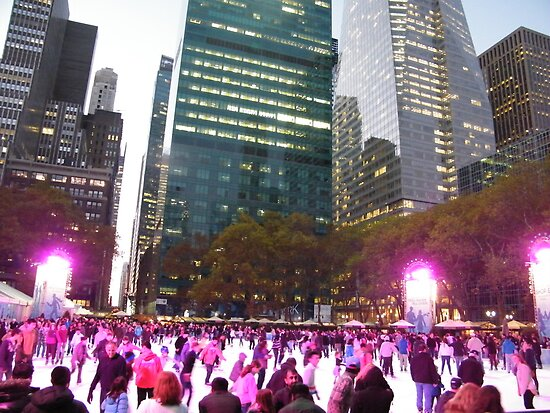 Bryant Park Skating Rink at Twilight, New York City by lenspiro