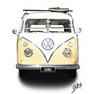 Volkswagen T-Shirt - Split Window Kombi (news print 2) by blulime