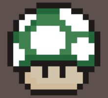 Pixel Mario Mushroom Green 1up by roguepixel