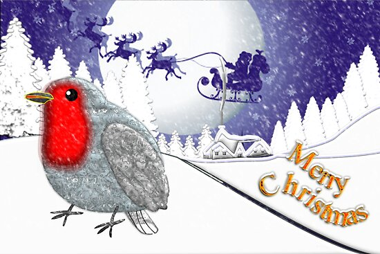 Merry Christmas from the Baby Robin card by Dennis Melling
