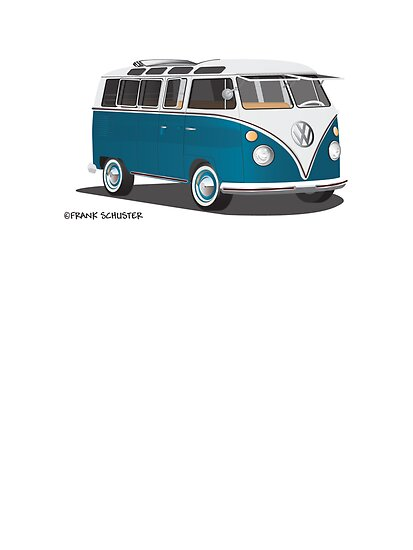 21 Window VW Bus Tuerkis by Frank Schuster