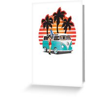 21 Window VW Bus Teal with Girl Greeting Card