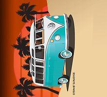 21 Window VW Bus Teal in Desert by Frank Schuster
