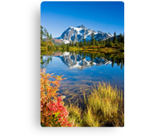 Mount Shuksan reflected in Picture Lake in Fall Canvas Print