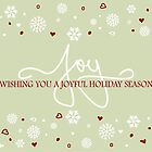 Joy Holiday Snowflakes Hearts Greeting on Lime Green by ruxique