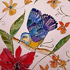 TROPICAL BIRD WITH ORCHIDS 7 by Gea Austen