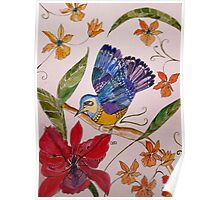 TROPICAL BIRD WITH ORCHIDS 7 Poster