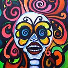 Groovy  Psychedelic Calavera with Butterfly Mask  by Candace Byington