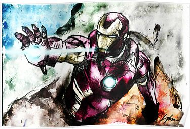 Iron Man Water colour Digital finish. by LiamShawberry