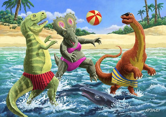 dinosaur fun playing Volleyball on a beach vacation by martyee