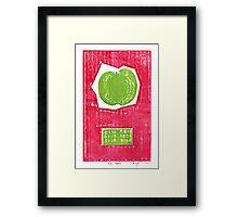 big apple retro fruit fine art binary code litho print Framed Print