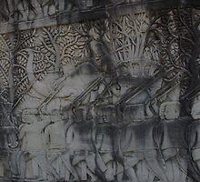 Depiction of war elephants, Bayon Gallery, Angkor Wat by docnaus