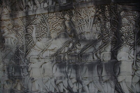 Depiction of war elephants, Bayon Gallery, Angkor Wat by docnaus