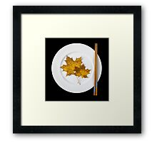 Plate with chopsticks and maple leaves Framed Print