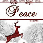 Peace On Earth Reindeer Card by Doreen Erhardt