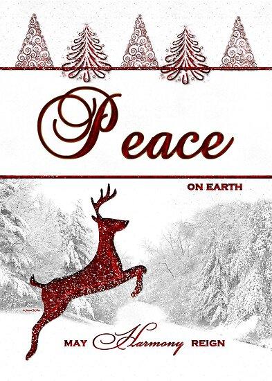 Peace On Earth Reindeer Card by Doreen Erhardt