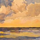 Sunset at sea. Watercolour. Framed. 32x24cm. 2010 by Elizabeth Moore Golding