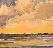 Sunset at sea. Watercolour. Framed. 32x24cm. 2010Ⓒ by Elizabeth Moore Golding