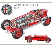 Alfa Romeo P3 - Cutaway Poster by David Jones