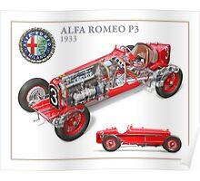 Alfa Romeo P3 - Cutaway Poster Poster