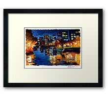 Downtown Vancouver at night. Framed Print