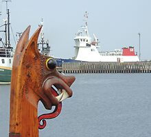 'Dim Riv', replica Viking boat in Lerwick harbour, Shetland by Richard Ion