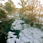 Frozen River at Twilight by magicaltrails
