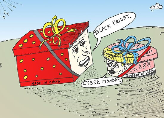 Black Friday et Cyber Monday en caricature by Binary-Options