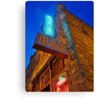 Glowing Oasis - Bar and Neon Signs at Night Canvas Print