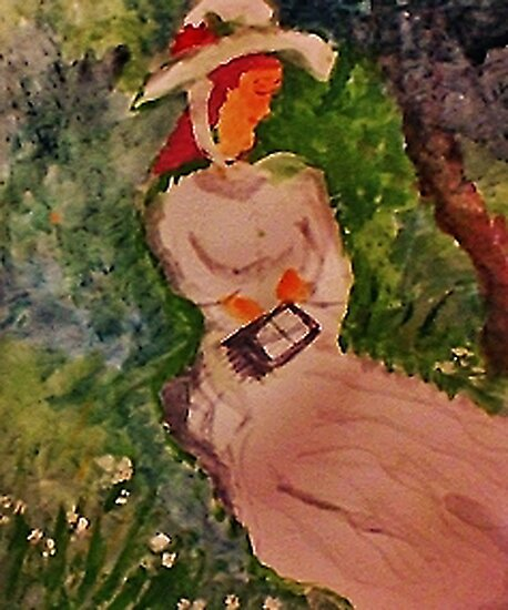 Girl waiting  #2 in the grass reading, watercolor by Anna  Lewis