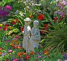 Young love in the garden by Margaret  Hyde