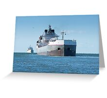 Two Ships Heading For The Harbor Greeting Card