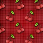 Cute Cherry Pattern on Red Plaid by cikedo