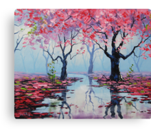 Misty Blossom Trees Canvas Print