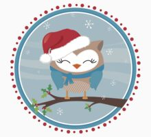 FESTIVE CHRISTMAS T-SHIRT :: boy owl day time by Kat Massard