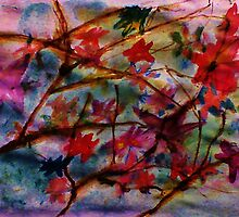 Fall leaves still on tree, watercolor by Anna  Lewis